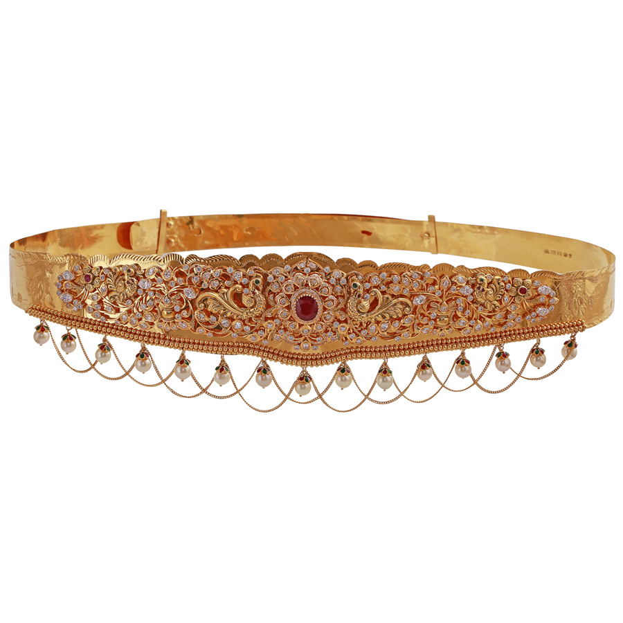 Magnificent Floral Ruby Gold Vaddanam_1