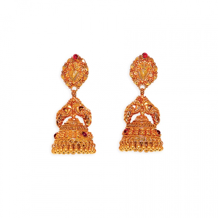 Antique Mira Gold Jhumkis Earring