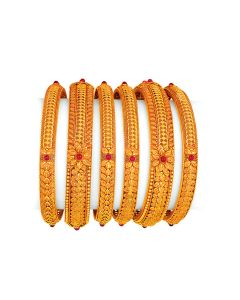 vbj-a-105d | Antique Gold Jaali Bangle Set