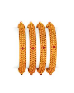 vbj-a-105e | Antique Floral Braided Gold Bangles