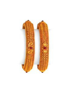 vbj-a-106d | Double Patterned Antique Gold Kada Set