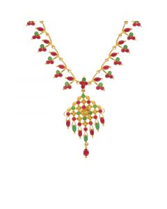 10VG3743 | Gold Fancy Ruby Emerald Necklace 10VG3743