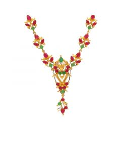 10VG3746 | Gold Fancy Ruby Emerald Necklace 10VG3746