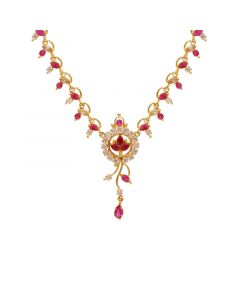 10VG3751 | Gold Fancy Ruby Emerald Necklace 10VG3751