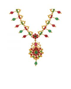 10VG3757 | Gold Fancy Ruby Emerald Necklace 10VG3757