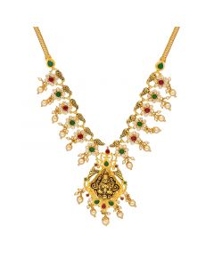 10VG4068 | 22Kt Semi Precious Gold Lakshmi Necklce with Pearls 10VG4068