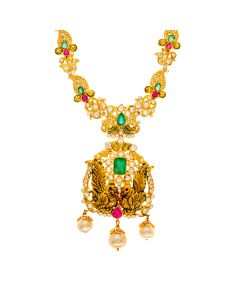 110VG3296 | Duet Peacock CZ Gold Necklace