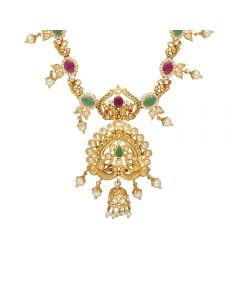 110VG4183 | Vaibhav Jewellers 22K Ruby Emerald GoldNecklace 110VG4183