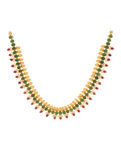 110VG4566 | 22K Gold Ruby Emerald Necklace  110VG4566