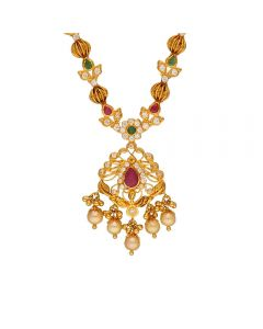 110VG5003 | Vaibhav Jewellers 22K Gold Ruby Emerald Cz Necklace 110VG5003