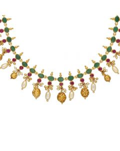 110VG5134 | Vaibhav Jewellers 22K Gold Ruby Emerald Necklace 110VG5134