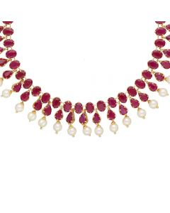110VG5200 | Vaibhav Jewellers 22K Ruby Gold Necklace 110VG5200