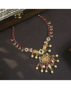 110VG5782 | Vaibhav Jewellers 22K Gold Ruby Emerald Cz Necklace 110VG5782