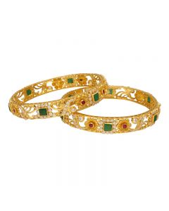 112VG1257 | 22K Ruby Emerald  Gold bangels 112VG1257