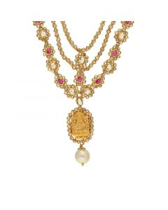 117VG302 | 22kt Lakshmi devi Polki Step Necklace 117VG302