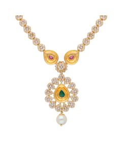 117VG413 | Antique Pearl Drop Polki Gold Necklace