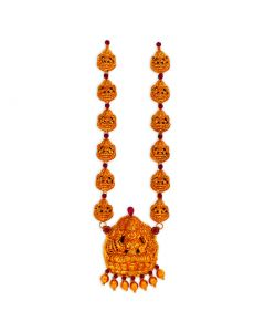 vbj-a-118b | Antique Dhanalakshmi Semi-Long Gold Haram