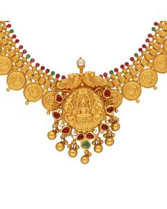 123G1679 | 22KT Lakshmi Antique Gold Necklace 123G1679