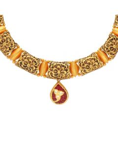 123MP3886 | Vaibhav Jewellers 22K Antique Gold Necklace 123MP3886