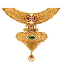 123MP3887 | Vaibhav Jewellers 22K Antique Gold Necklace 123MP3887