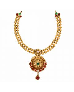 123VG2335 | Vaibhav Jewellers Antique Gold Necklace 123VG2335
