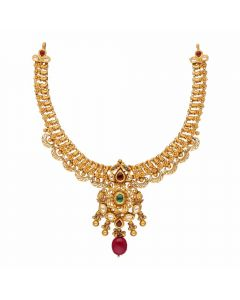 123VG2870 | Vaibhav Jewellers Antique Gold Necklace 123VG2870