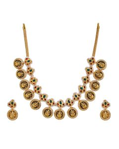 123VG2938 | Lakshmi Coin Antique Gold Necklace Set