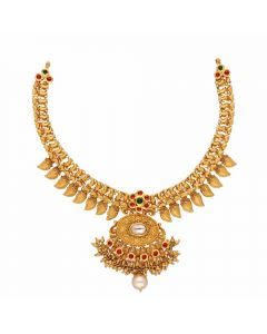 123VG3643 | Vaibhav Jewellers Antique Gold Necklace 123VG3643