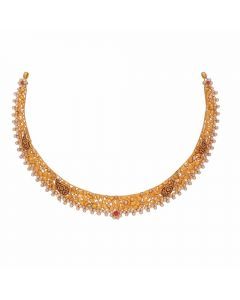 123VG4222 | Vaibhav Jewellers Antique Gold Necklace 123VG4222
