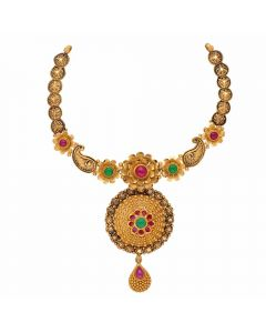 123VG4325 | Vaibhav Jewellers Antique Gold Necklace 123VG4325