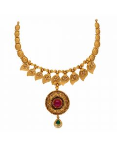 123VG4431 | Vaibhav Jewellers Antique Gold Necklace 123VG4431