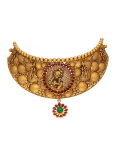 123VG5423 | 22kt Gold Antique Gold Littile Krishna Choker 123VG5423