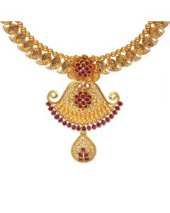 123VG5554 | Vaibhav Jewellers Antique Gold Necklace 123VG5554