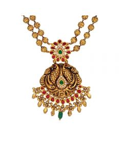 123VG5623 | Vaibhav Jewellers Antique Double Layered Gold Necklace 123VG5623