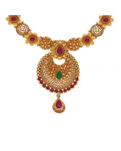 123VG5714 | Vaibhav Jewellers Antique Gold Necklace 123VG5714