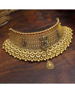 123VG6193 | Vaibhav Jewellers 22K Antique Gold Lakshmi Choker 123VG6193
