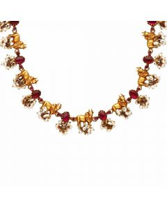 123VG6226 | Vaibhav Jewellers 22K Antique Cow and Calf Gold Necklace 123VG6226