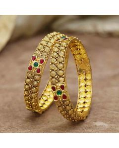 125VG1301 | Vaibhav Jewellers 22K Antique Gold Bangles 125VG1301