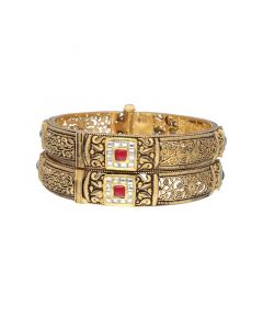 125VG534 | Antique Gold Ruby Bangles with Emerald stone 125VG534
