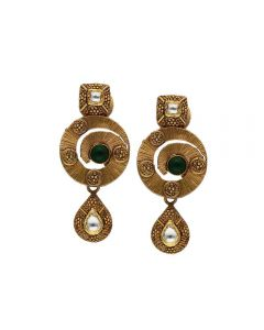 135VG4030 | Vaibhav Jewellers Antique Gold Hanging Earrings 135VG4030