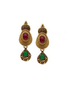 135VG4035 | Vaibhav Jewellers Antique Gold Hanging Earrings 135VG4035