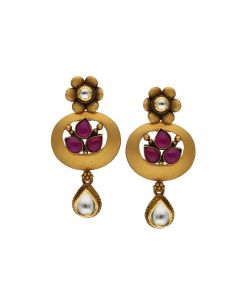 135VG4037 | Vaibhav Jewellers Antique Gold Hanging Earrings 135VG4037
