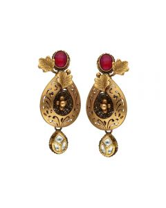 135VG4038 | Vaibhav Jewellers Antique Gold Hanging Earrings 135VG4038
