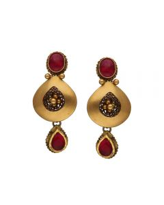 135VG4039 | Vaibhav Jewellers Antique Gold Hanging Earrings 135VG4039