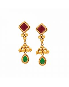135VG4120 | Vaibhav Jewellers 22K Antique Gold Hangings 135VG4120