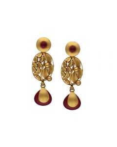 135VG4125 | Vaibhav Jewellers Antique Gold Hanging Earrings 135VG4125