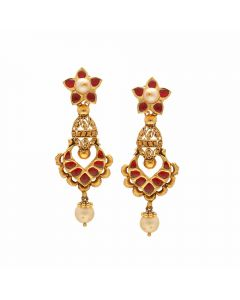 135VG4206 | Vaibhav Jewellers 22K Antique Gold Hangings 135VG4206