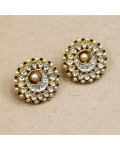 136VG3 | Vaibhav Jewellers 22K Antique Kundan Gold Stud Earrings 136VG3