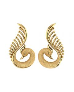 155DH3051 | Vaibhav Jewellers 18K Gold Peacock Studs 155DH3051