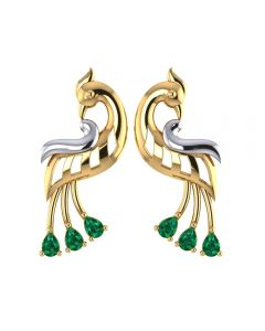 155DH3053 | Vaibhav Jewellers 18K Gold Peacock Studs 155DH3053